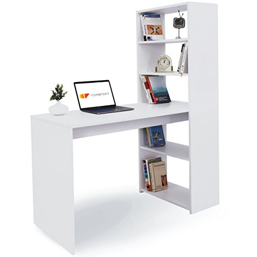 COMIFORT Escritorio con Estantería - Mesa de Estudio con Librería de Estructura Firme, Moderna y Minimalista con 4 Baldas Espaciosas y de Gran Capacidad, Color Blanco