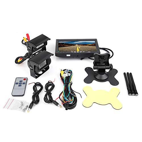 Deror Monitor LCD TFT de 7 Pulgadas, Vista Trasera inalámbrica, cámara de Respaldo de Marcha atrás, visión Nocturna para Camiones RV