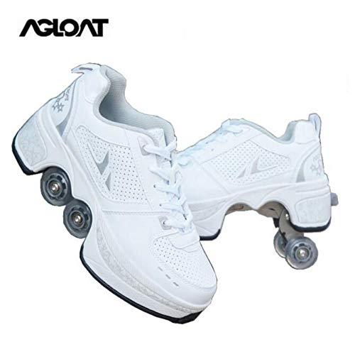 Rollschuhe Damen,2 In 1 Inline Skates Kinder,Schuhe Mit Rollen Skateboardschuhe,Verstellbare Quad Skate Rollerskates Skating Sneakers Geschenke Für Kinder,Weiß-36