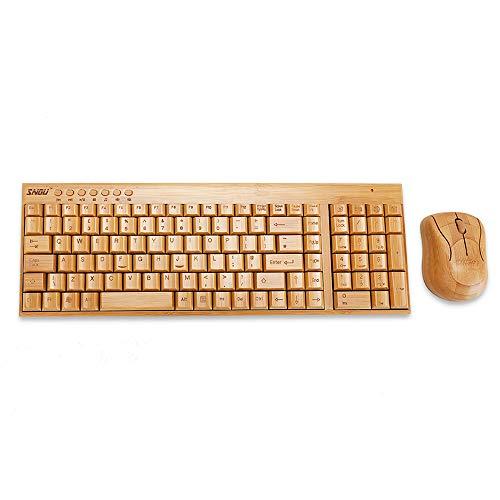 Sengu SG-KG201-N+MG94-N 2.4GHz Full Bamboo Handmade Wireless Keyboard and...