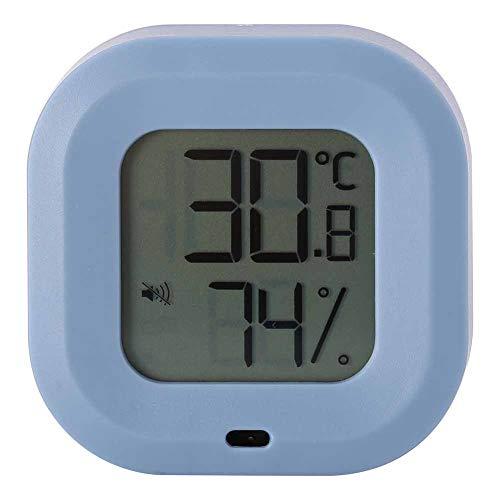 Termo higrómetro, Multi‑Idioma Interior Termómetro Higrómetro 1 X Botón Batería CR2477 con Abdominales 50x50x15mm por Casa Garaje Invernadero (Blanco, Azul)