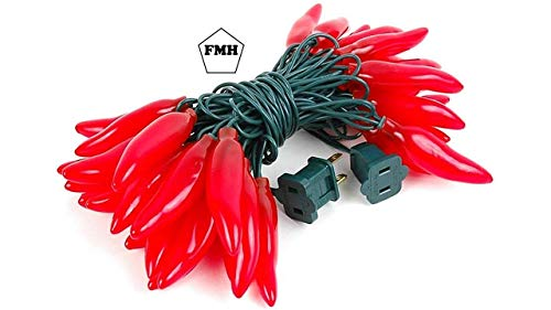 FMH - Red Chili Pepper String Lights, 35 bulbs, 14.5 Feet Long, 22 Gauge Green Wire, 120 V, Constantly Lit or Intermittent Flashing - Indoor/Outdoor - from Furnish My Homestead