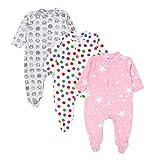 TupTam Baby Mädchen Schlafstrampler mit Fuß 3er Pack, Farbe: Farbenmix 2, Größe: 56