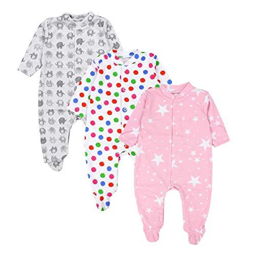 TupTam TupTam Baby Mädchen Schlafstrampler mit Fuß 3er Pack, Farbe: Farbenmix 2, Größe: 98