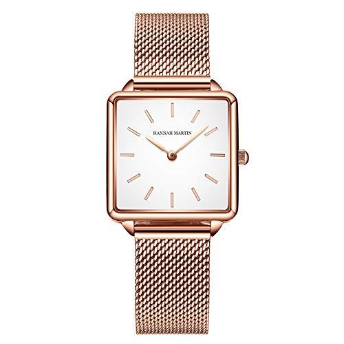 Relojes de Cuarzo Mujeres Dial Cuadrado Casual Business Reloj de Pulsera de Malla de Acero Inoxidable Rose Gold/Silver (White-Gold)