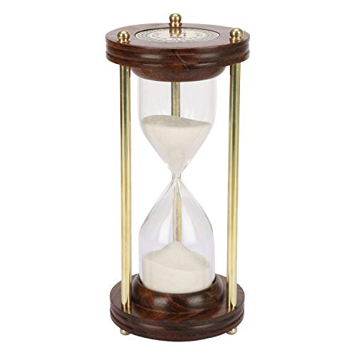 Kartique Brass Old Sand 5 Minute Timer Wood Logo Antique Finish Hourglass, Height 7 Inches, Brown