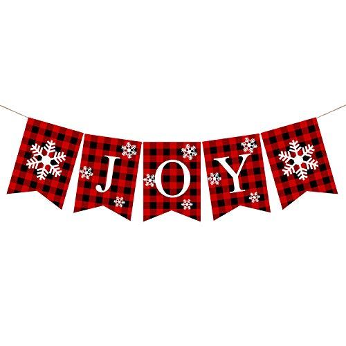 Plaid Christmas Joy Banner Burlap Christmas Rustic Bunting Banner for Christmas Hanging Decorations