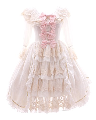 Kawaii-Story JL-645-2 weiß Rüschen Chiffon Kleid Rokoko Victorian Gothic Lolita Cosplay (Gr. L)