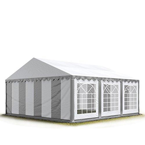 TOOLPORT Party-Zelt Festzelt 4x6 m feuersicher Garten-Pavillon -Zelt 500g/m² PVC Plane in grau-weiß Wasserdicht