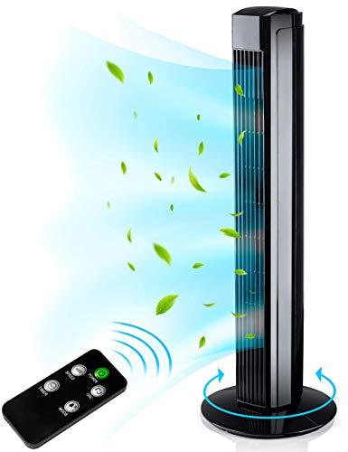 AERSON Turmventilator mit Fernbedienung 80 cm | Standventilator mit Oszillation | Ventilator 3 Geschwindigkeitsstufen | LED Display Raumtemperaturanzeige Timer | Tower Fan - 45 W (Schwarz)