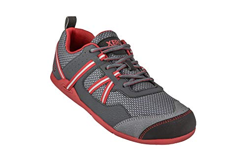 Xero Shoes Prio - Men's Minimalist Barefoot Trail and Road Running Shoe - Fitness, Athletic Zero Drop Sneaker Charcoal Red