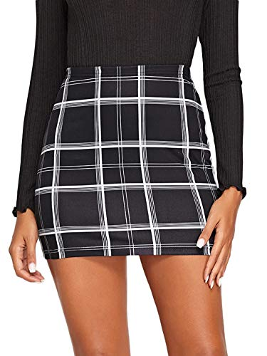 Floerns Women's Stretchy Gingham Plaid Bodycon Mini Skirt A Black and White L
