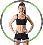 DOUMORE Weighted Hula Hoop For Adults Fitness Hula Hoops Professional Quality   Wave Design 1kg Large 100cm Diameter 8 Sections   Green & Charcoal Colour   Gift for Youth Adults Ladies Lose Weight