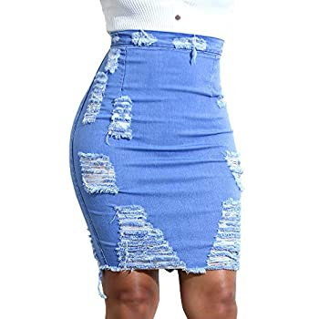 Nevera Women High Waisted Jean Skirt Ripped Distressed Slim Fit Denim Mini Skirt
