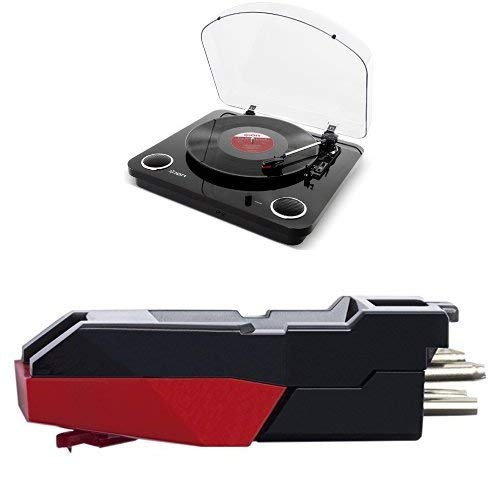 ION Audio Max LP Black + CZ-800-10 - Giradischi con Casse Integrate, Convertitore Vinili + Software + Testina di Ricambio in Ceramica per Giradischi con Puntina