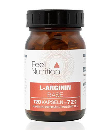 FeelNutrition L-Arginin Base - IM GLAS, OHNE WEICHMACHER – Pro Kapsel 505 mg REINES L-Arginin - KEIN Hydrochlorid (HCL) - hochdosierte Base - Ohne Magnesiumstearat - 120 Kapseln