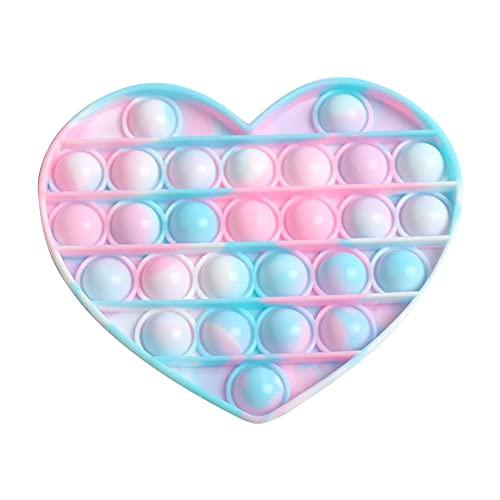 Pop It Fidget Toy,Fun Pop it Bubble Sensory Fidget Toys,Push Bubble Sensory Autismo Alivio del estrés Niños Concentración Juguete (Corazón)