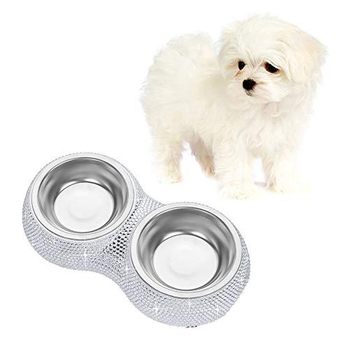 Soleebee Bling Strass Haustier Hundefutter Hunde Fressnapf Wasser Futterspender Schüssel Doppelgebrauch Teller - Silber