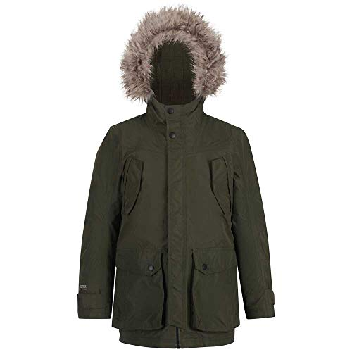 Regatta Unisex Kinder Pazel Waterproof Breathable Taped Seams Insulated Lined Hooded Parka Jacke, dunkles kaki, 15-16