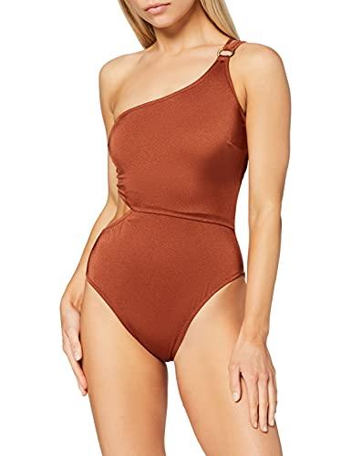 Marca Amazon - IRIS & LILLY Bañador con Aberturas Mujer, Rojo (Sumatra), XS, Label: XS