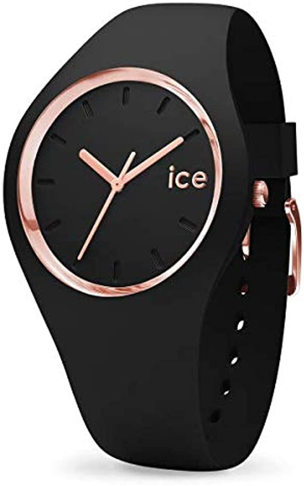 Ice-watch,orologio da donna, in silicone, con anello e lancette oro rosa, Ice Glam rosegold black