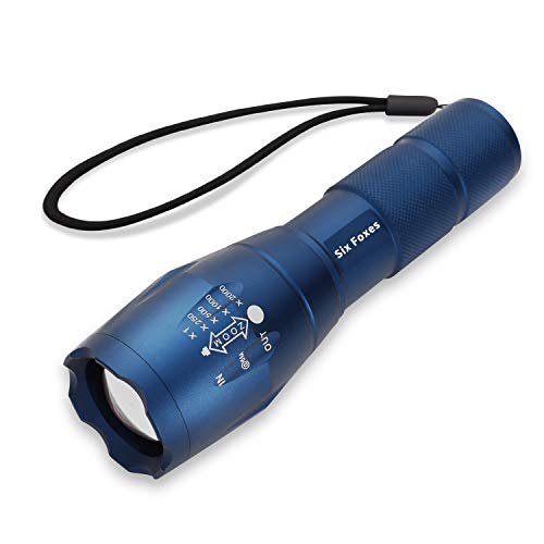 SIX FOXES LED Tactical Flashlight, Super Bright 2000 Lumen Flashlight, CREE T6 Flashlight with 5 Modes, Zoomable Waterproof Flashlight Torch Light for Hiking, Camping - Blue