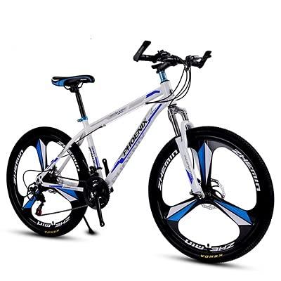 DXFWZQ Bicicleta de montaña Doble Disco Freno 21 Velocidad 24 Velocidad 27 Velocidad una Rueda Hombre o Mujer, White Blue Black Blue Black Red Three Knife Wheel Aluminum Frame 21 Speed