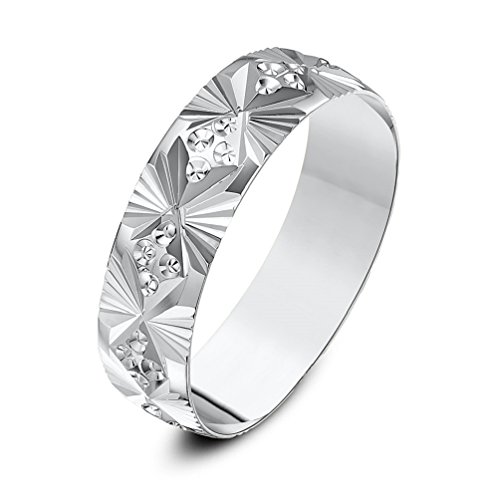 Theia Unisex Heavy Weight D Shape Fan and Circle Design 6 mm 9 ct White Gold Wedding Ring - Size R