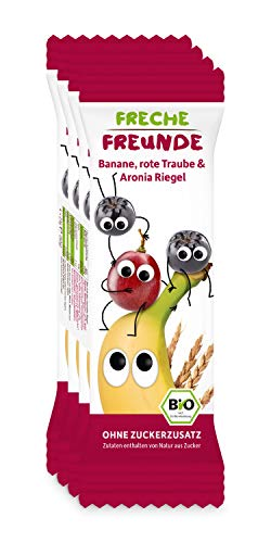 """Freche Freunde Bio Frucht-Riegel \""""Rote Traube, Aronia & Banane\"""", ohne Zuckerzusatz, für Kinder & Babys ab 1 Jahr, 6er Pack, 6 x (4 x 23 g)"""