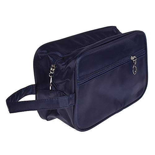 NUOMI Nylon Travel Toiletry Bag Organizer Shaving Kit, Mens Ladies Supply Case, Zipper Closure, Dark Blue