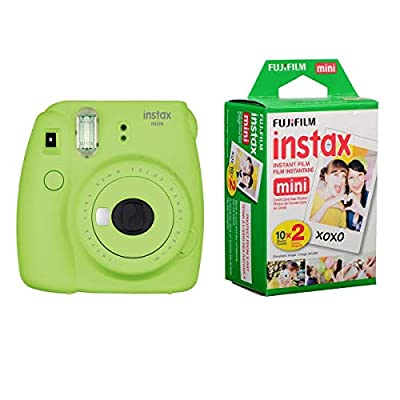 Fujifilm Instax Mini 9 Instant Camera (Lime Green) with Film Twin Pack Bundle (2 Items) by FUJIFILM