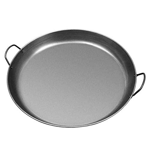 Polished Steel Paella Pan Wide And Shallow Cooking Pan With Cast Iron Construction For Cooking Mediterranean-Inspired Dishes (Size : 27cm)
