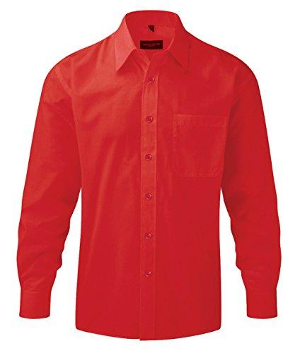 Z934 Langarm Popeline-Hemd Oberhemd Herren Hemd Russell 4XL / 49/50,Classic Red