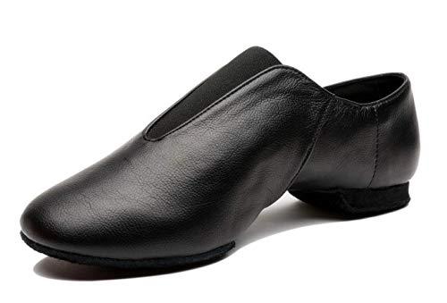 Mrsdressshop Unisex Leather Upper Jazz Ballets Shoe Slip-on for Adults,Women,Men Gymnastics,Dancing,Ballroom (8w/7m) Black