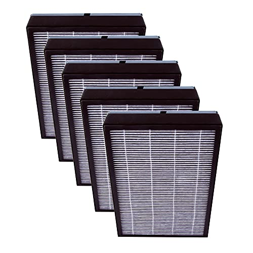 NuWave OxyPure HEPA/Carbon Filters - 5 Pack; Dust, Pet Hair, Odor Removal; High-Efficiency Activated Carbon + HEPA Combo