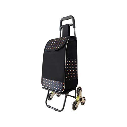 Faltbarer Kauf Gemüsewagen Haushalts Einkaufswagen Edelstahl Achse Treppensteigen Trolley GW (Farbe : Schwarz)