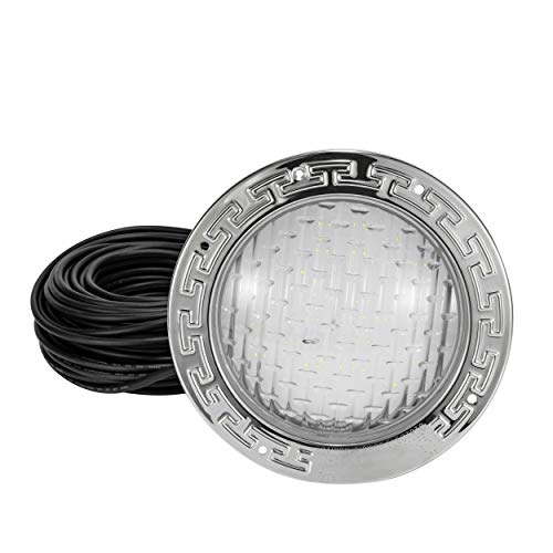 """HQUA PN01 LED Pool Light, 10 Inch 35W 3000lm 120V (300 Watt Equivalent), with 100 Feet Cord, Power Supply Included, 6500k Cool White, UL Listed, Fit for 10"""" Standard Wet Niches."""