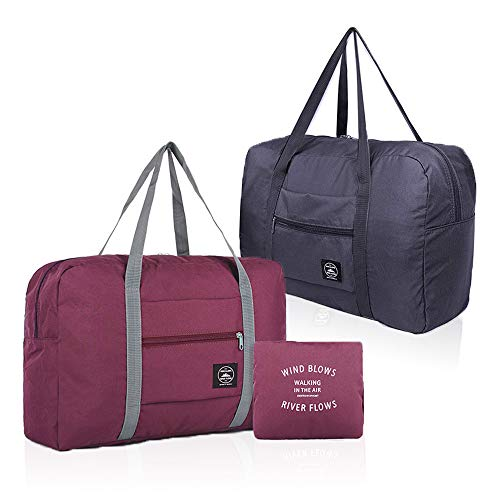 (2 Pack) Foldable Travel Duffel Bag, Waterproof Carry On Luggage Bag, Lightweight Travel Luggage Bag for Sports, Gym, Vacation (Wine red+Dark blue)
