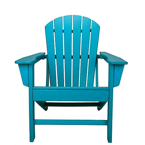 Healup HDPE Resin Wood Adirondack Chair, Folding and Reclining Adirondack Chair, Outdoor Furniture Patio Chairs (Blue)