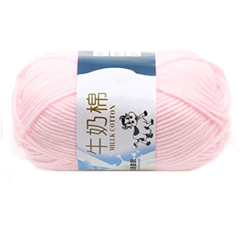 Suave Suave Leche de algodón Natural de la Mano de Tejer Lana de Lana Bola del Hilado del bebé para Naves de luz de Color Rosa