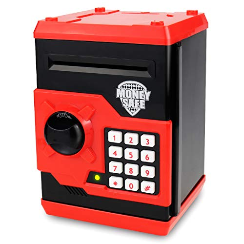 SAOJAY Kids Money Bank, Electronic Password Piggy Bank Mini ATM Cash Coin Money Box for Kids Birthday Toy for Children (Black red)