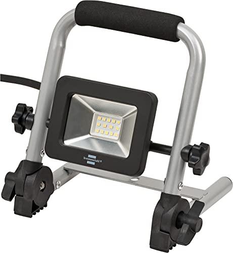 Brennenstuhl foco LED de trabajo portátil EL 750 M/foco LED de obra y construcción 10W para uso en interiores y exteriores IP65 (luz de trabajo, 900lm, con cable RN de 1,5m, marco plegable, IK08)