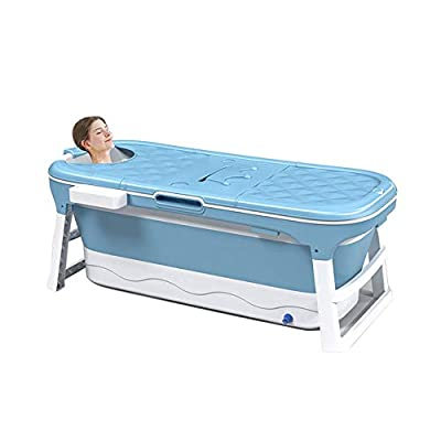 W WEYLAN TEC 54 inch Luxury Extra Large Foldable Bath Tub Bathtub for Toddler Children Twins Petite Adult with Lid Handle Drain Hose Blue