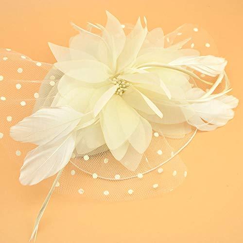 Accessoires pour cheveux Britannique rétro blanc mariée modélisation net fil coiffe fil de soie fleur petit chapeau cheveux accessoires plume photo studio robe en épingle à cheveux-crème-blanc