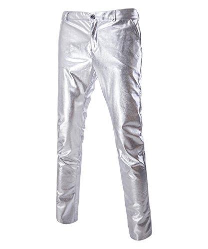 Sliktaa Pantaloni in Pelle da Uomo Casual da Moto da Discoteca da Golf Argento Metallizzato Oro