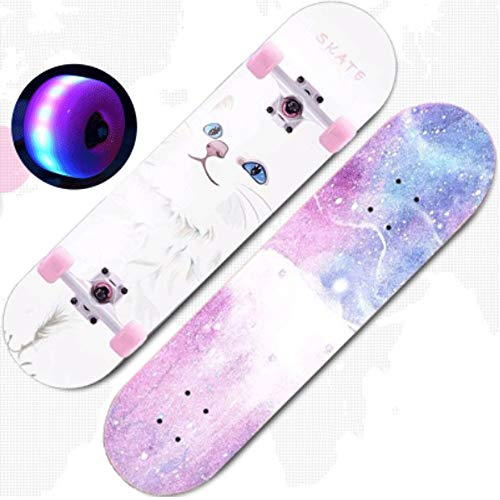 Mopoq Skateboard Double Rocker Principiantes Patinaje de Doble Cara Niños y niñas Adolescentes y Entrada para niños Patinaje de Cuatro Ruedas Skateboard para Adultos (Color : 1)
