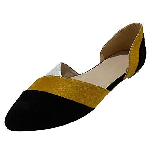 DAIFINEY Damen Slippers Espadrilles Pointed Toe Spitze Farbanpassung leichte Sommer Pantoffeln geschlossene Ballerinas Hausschuhe Freizeitschuh(1-Gelb/Yellow,37)