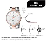 IIK COLLECTION Analogue Women's Watch (White Dial Silver & Rose Gold Colored Strap)