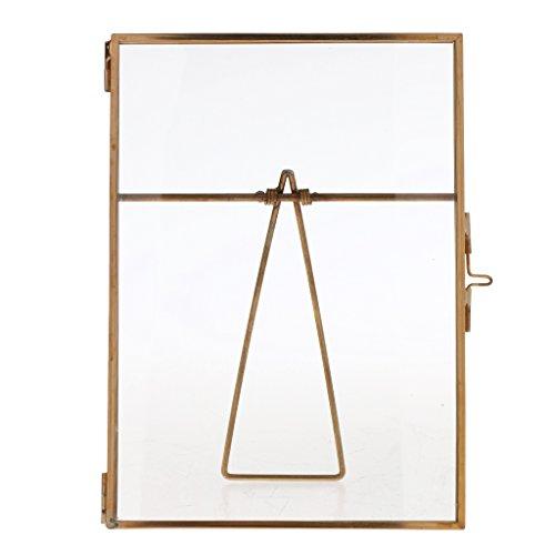 VANKOA - Marco de Fotos de Cristal Dorado, para decoración de Pared con Soporte de pie para decoración del hogar, para Pared y mesas, Adorno, 15 x 20 cm