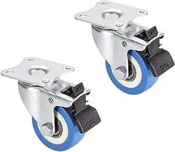 Casters 4 zwenkwielen, 1,77 inch, PU-wielen, 360 graden, bovenste plaat 360 graden met rem, capaciteit 32 lb